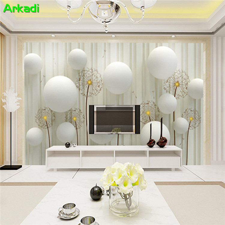Modern minimalist wallpaper 3d mural living room sofa TV background restaurant leisure place dandelion home custom painting image