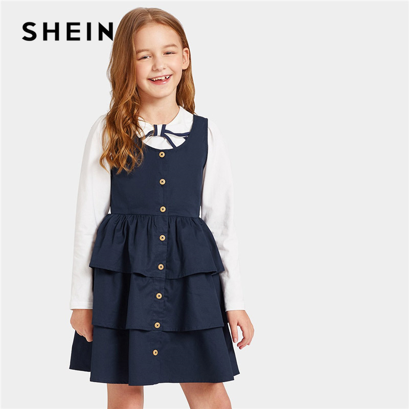 Фото - SHEIN Kiddie Navy Button Front Layered Ruffle Teenage Girl Short Dress 2019 Summer Tiered Layer Fit and Flare Kid Girls Dresses all over florals v neckline tiered peasant dress