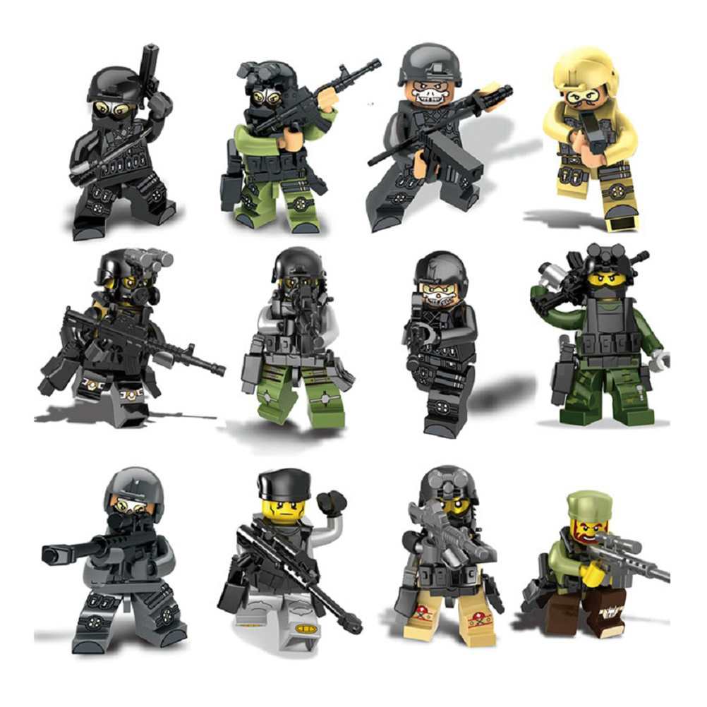 CosCosX-12PCS City police Swat team CS Commando Army soldiers with Weapon Gun Building Blocks Compatible Legoe Military Toy