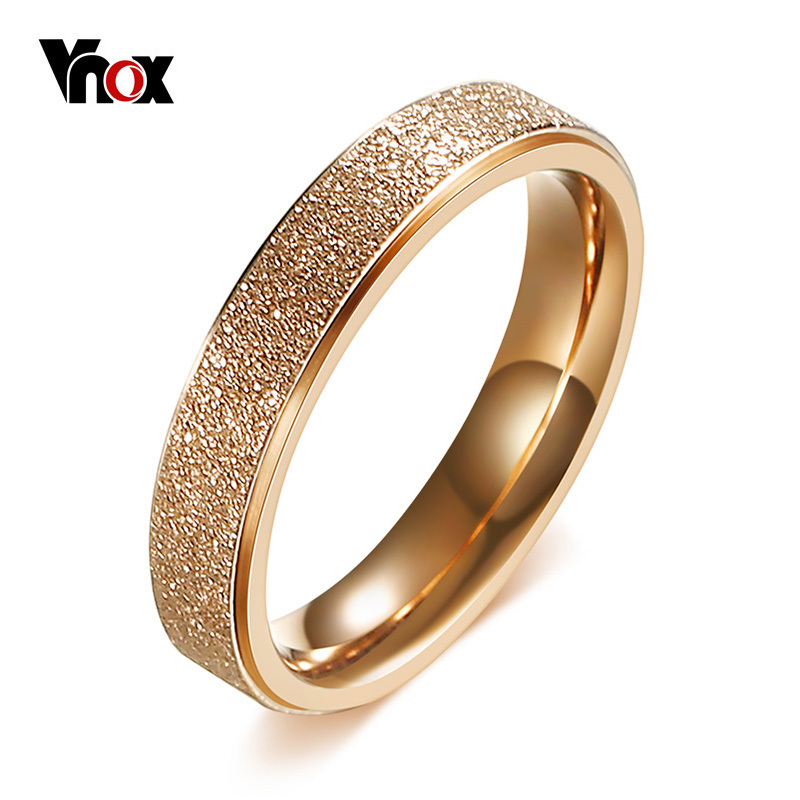 Vnox Engagement Rings for Women Rose Gold Color Stainless Steel Female Wedding Bands Promise Love Ring