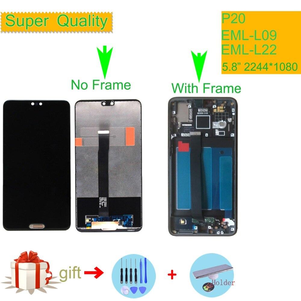 D'ORIGINE Pour Huawei P20 Convertisseur analogique-numérique D'écran Tactile D'affichage D'affichage à cristaux liquides LCD Avec Cadre P20 Écran LCD EML-L09 EML-L22 EML-L29 EML-AL00 5.8