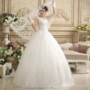 Image 2 - Fansmile vestido de noiva com pérolas, vestido de baile, de princesa, branco 2020, plus size, de casamento FSM 643F