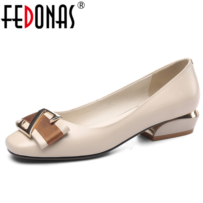 FEDONAS Top Quality Genuine Leather Women Pumps Classic Design Round Toe Concise Elegant Basic Shoes Spring