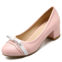 2017 New Plus Big Size 32-43 Beige Blue Pink Bowtie Sweet Fashion Casual Mid Heel Girls Females Lady Womens Shoes Pumps D1063