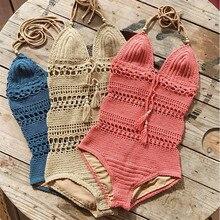 Sexy Women V Neck Halter One Piece Swimsuit Crochet Knitted Hollow Out Swimwear Biquini Female Bandage Bathing Suit Beachwear
