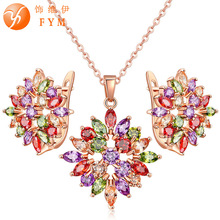 FYM Brand Luxury Rose Gold-color Jewelry Sets For Women Wedding with Colorful AAA Cubic Zircon Necklace + Hoop earring fym luxury gold color jewelry sets necklace earring for women wedding with aaa cubic zircon girlfriend gift wholesale js0131