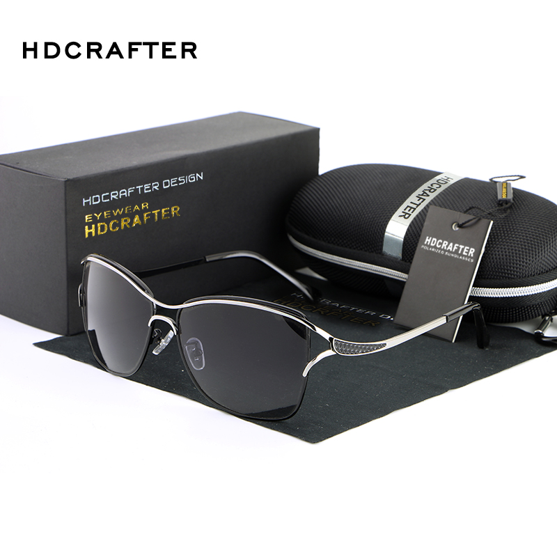 HDCRAFTER Brand Elegant Fashion Ladies Sunglasses Female Larged Framed Polarized Oculos De Sol Eyewear Accessories