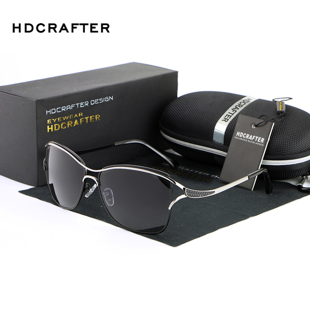 HDCRAFTER Brand Elegant Fashion Ladies Sunglasses  Female Larged-Framed  Polarized Oculos De Sol Eyewear Accessories