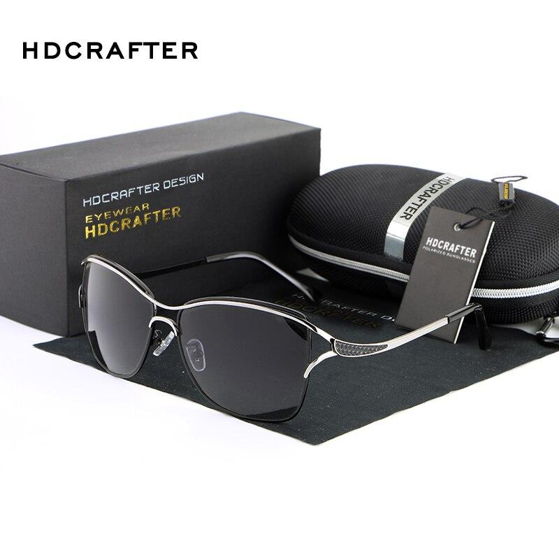 HDCRAFTER Marque Élégant Dames De Mode Lunettes De Soleil des Femmes Agrandie-Encadrée Polarisées Oculos De Sol Lunettes Accessoires