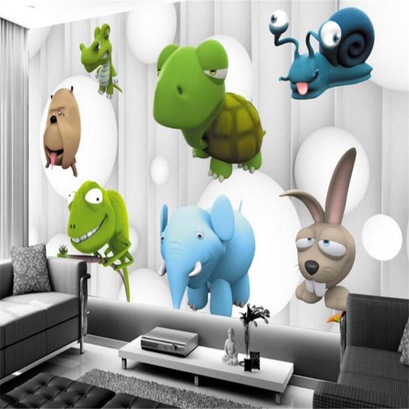 Custom Photo Wallpapers 3D Cartoon Animal Wallpaper Roll Grey Striped Cute Wallpaper Kids Wall Mural for Children Room TV Wall shinehome cute circle bubble 3d photo wallpaper for walls 3 d living room wallpapers kids room mural roll wall paper background