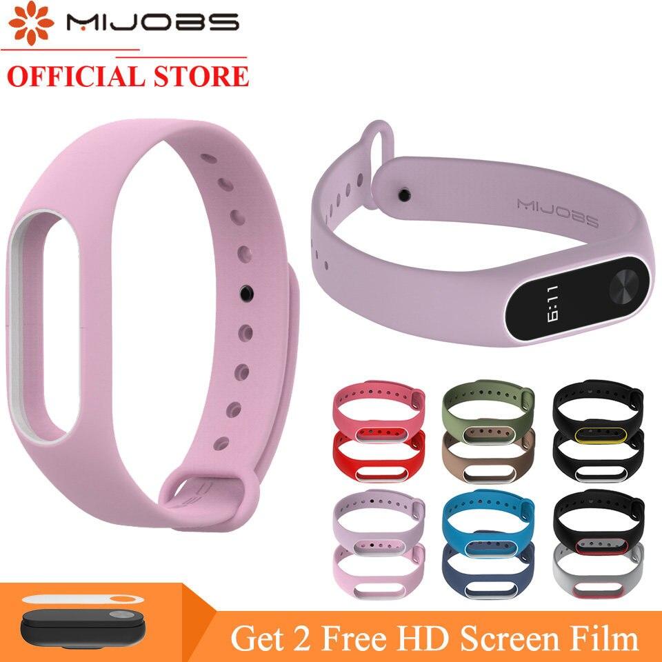 Online Shop Mijobs Genuine Leather Strap For Xiaomi Mi Band 2 Smart Kulit Asli Stainless Elegant Colorful Silicone Bracelet