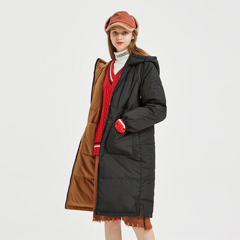 Women's   Down   Jacket Winter 90% Gray Duck   Down     Coats   Hooded Long Outerwear 2019 New Arrival Double-sided Wear   Down   Jacket Women