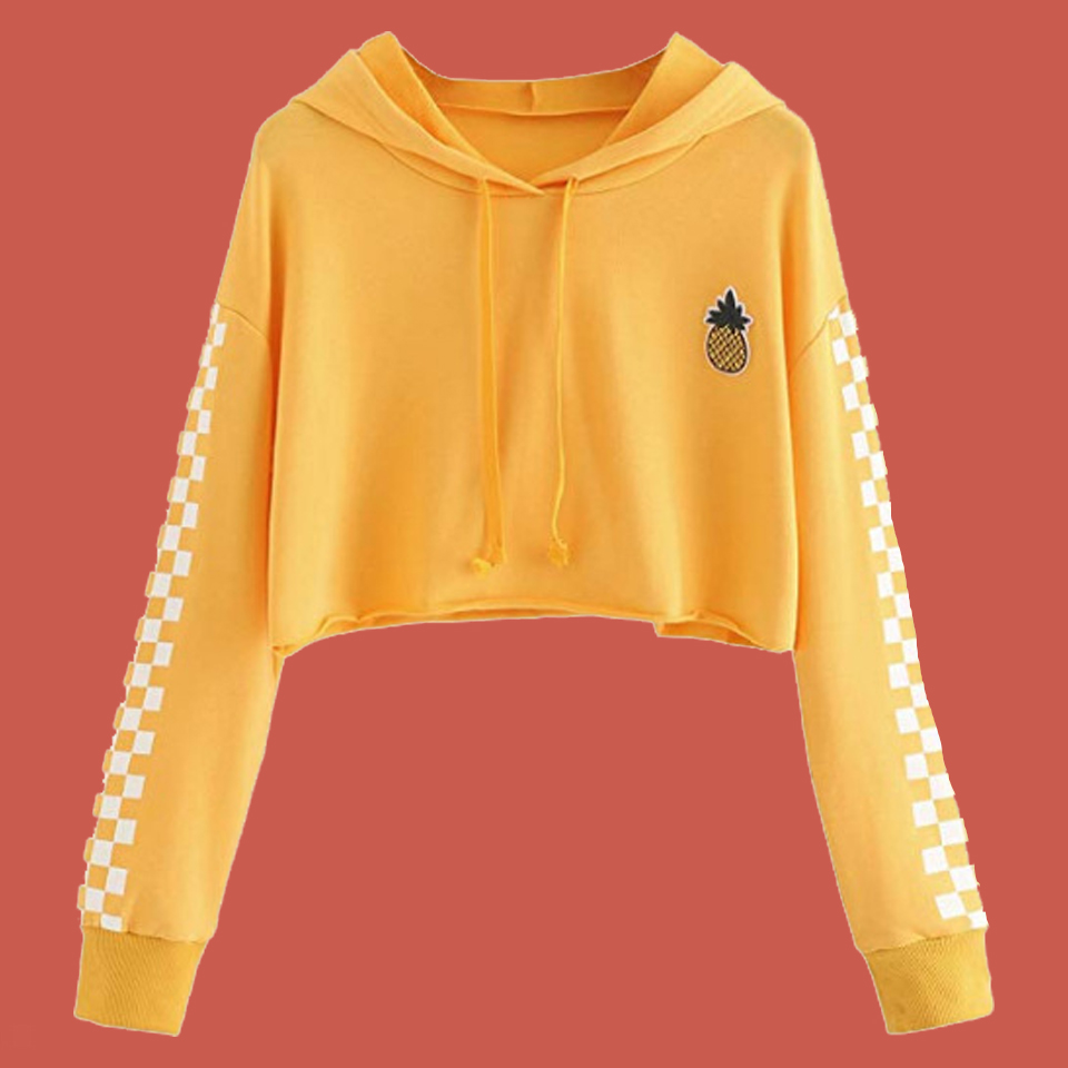 18e7d1a10b8 Detail Feedback Questions about Plaid Hoodie Pineapple Sweatshirt Crop Top  Women Poleron Mujer 2019 Checkered Hoodie Black Yellow Hoodies Long Sleeve  Cute ...