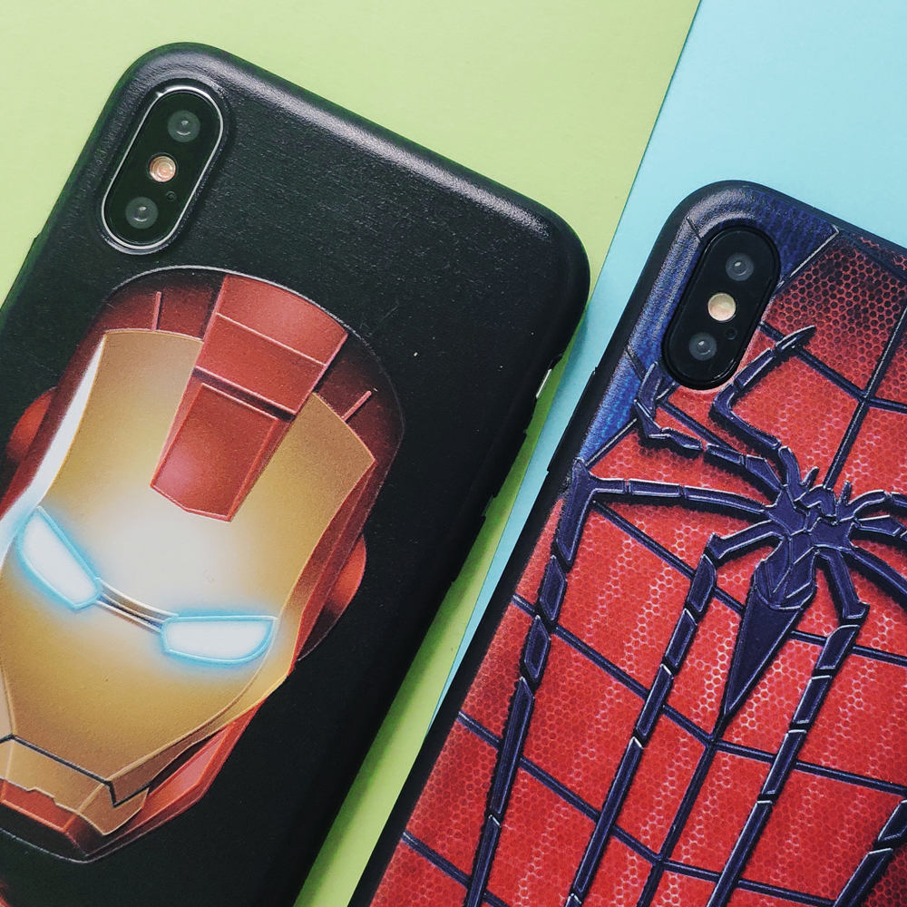 Phone Case for iPhone X XS MAX XR 6 6S 7 8 Plus Superman SpiderMan Iron Man Superhero Pattern Silicone TPU Soft Case Cover Coque in Fitted Cases from Cellphones Telecommunications