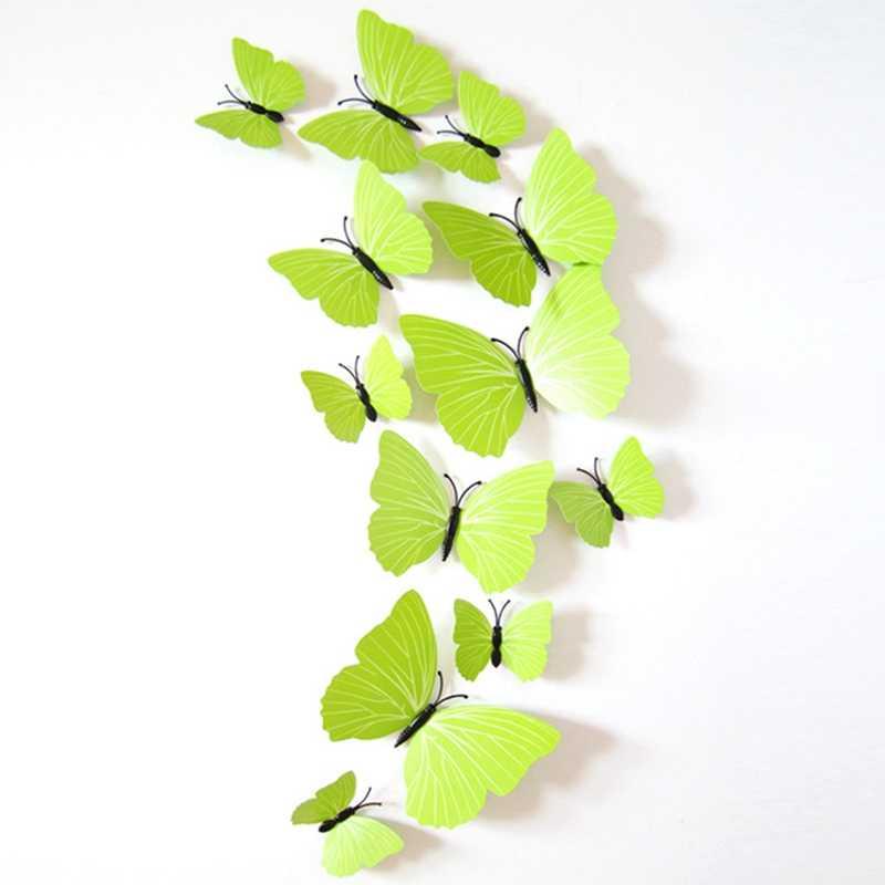 Envío Gratis 12 unids/set 3D mariposas pegatinas de pared con imán adhesivo decoración de nevera fiesta en casa Año Nuevo Navidad decoración pegatinas