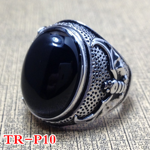 925 Sterling Silver Ring Silver retro gifts natural Natural stone Mens Ring Opening цена