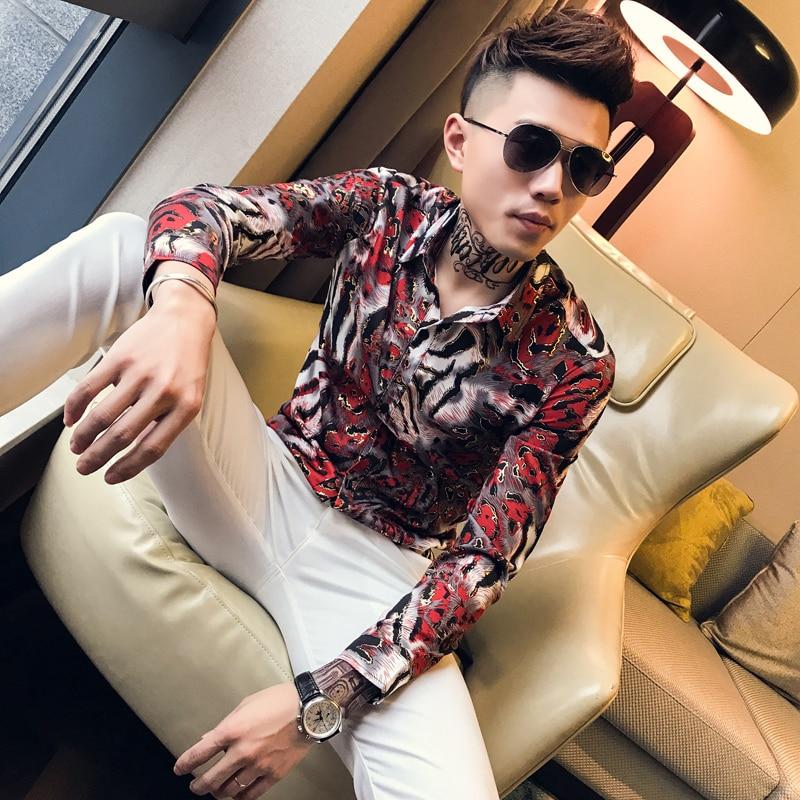 Bronzing Shirts Mens Social Club Outfits Slim Fit Fashion Men Shirts 2019 Korea Mens Casual Clothing Floral Printed Shirts 4