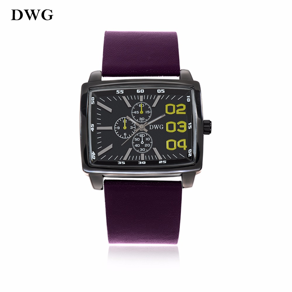 DWG Men's Watch Fashion Brand High Quality Quartz Movement Wristwatch Rectangle Dial Noble Purple Leather Strap Casual Men Clock high quality fashion dial genuine leather strap top sale quartz watch women and men dress wristwatch personality