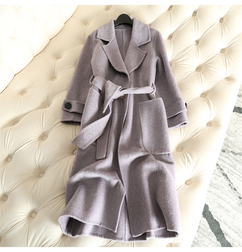 QIAN SI CHEN 19 Autumn New 100% Cashmere Coat Alpaca Warm Winter Coat Women Long Wool Coat Office Lady Slim Female Overcoat 23