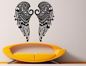 Image 1 - ビニール壁ステッカー美しい翼クリスチャン天使の羽宗教キリスト教リビングルームのベッドルームの壁デカール 2CB2