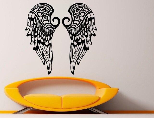 ビニール壁ステッカー美しい翼クリスチャン天使の羽宗教キリスト教リビングルームのベッドルームの壁デカール 2CB2