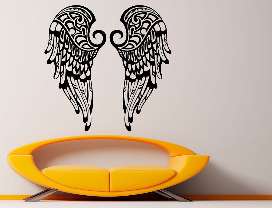 Vinyl wall sticker Beautiful Wings Christian Angel Wings Religion Christianity Living room bedroom home decor Wall Decal 2CB2-in Wall Stickers from Home & Garden