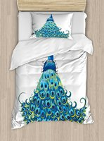 Peacock Duvet Cover Set Peacock Illustration Floral Classical Curvy Artful Design Tropics Wildlife Theme 4 Piece Bedding Set