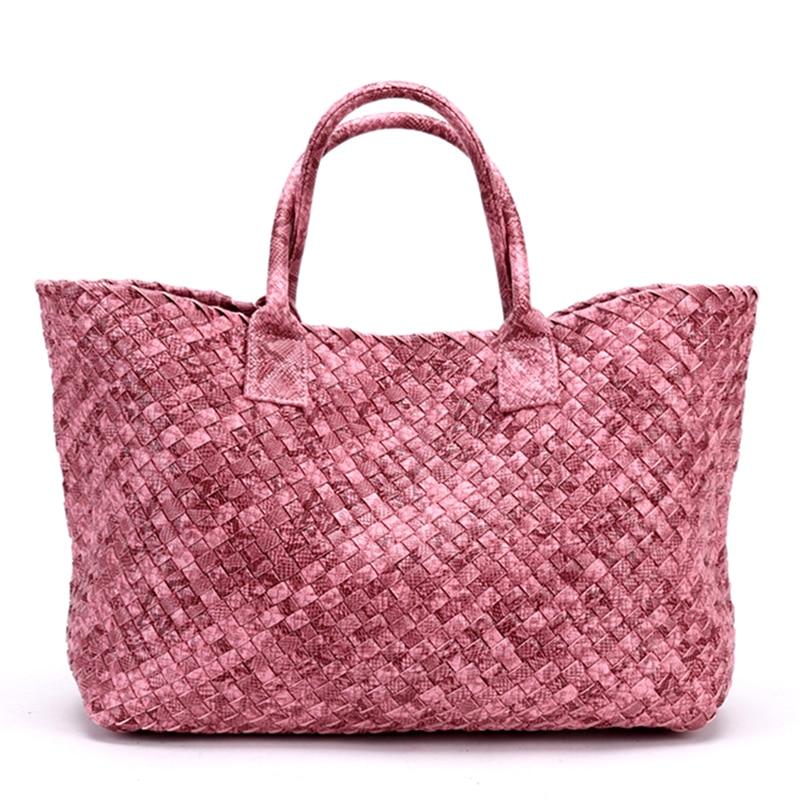Fashion European and American Style Python Print Woven Leather Handbag High Capacity Purse Women Knitting Bag Large Casual Tote