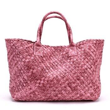 الأزياء الأوروبية والأمريكية نمط بيثون طباعة المنسوجة حقيبة يد جلدية قدرة عالية محفظة النساء الحياكة حقيبة كبيرة عارضة حمل