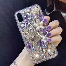 XINGDUO bling 3D diamantes perla Diamante de imitación carcasa para iphone 6 6S 7 8 Plus botella de Perfume de lujo TPU carcasa suave para iphone X XR XS(China)