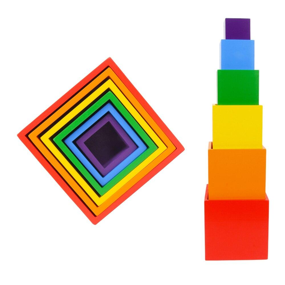 6 couleurs arc-en-ciel blocs de construction coloré bricolage Cube enfants boîte carrée en bois jouets bébé empilement blocs de construction éducatifs
