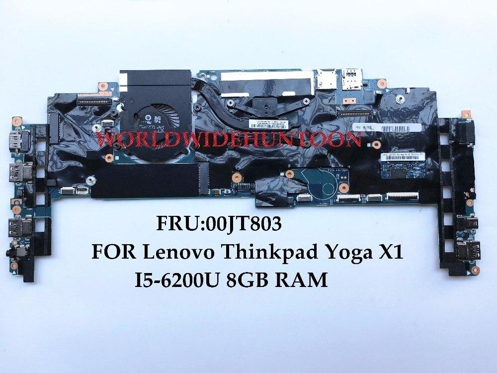High quality Laptop Motherboard for Lenovo Thinkpad Yoga X1 FRU:00JT803 448.04P15.002M I5-6200U 8GB RAM 100% Fully Tested