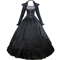 Women's Cotton Stand Collar Gothic Victorian Ball Gown Black/Rose Dress Costumes