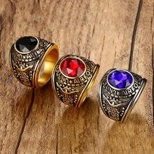 ВВС США мужские военные кольца из нержавеющей стали 316 золотого цвета красный синий черный камень кольцо Environ для мужчин Тал материал без свинца