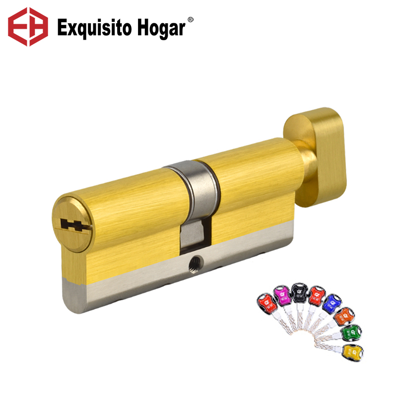 Door Lock Brass Cylinder Single Open Sided Blade Break Anti Pry Stainless Steel Bar Brass  Snake Groove Cylinder Color 8 Keys