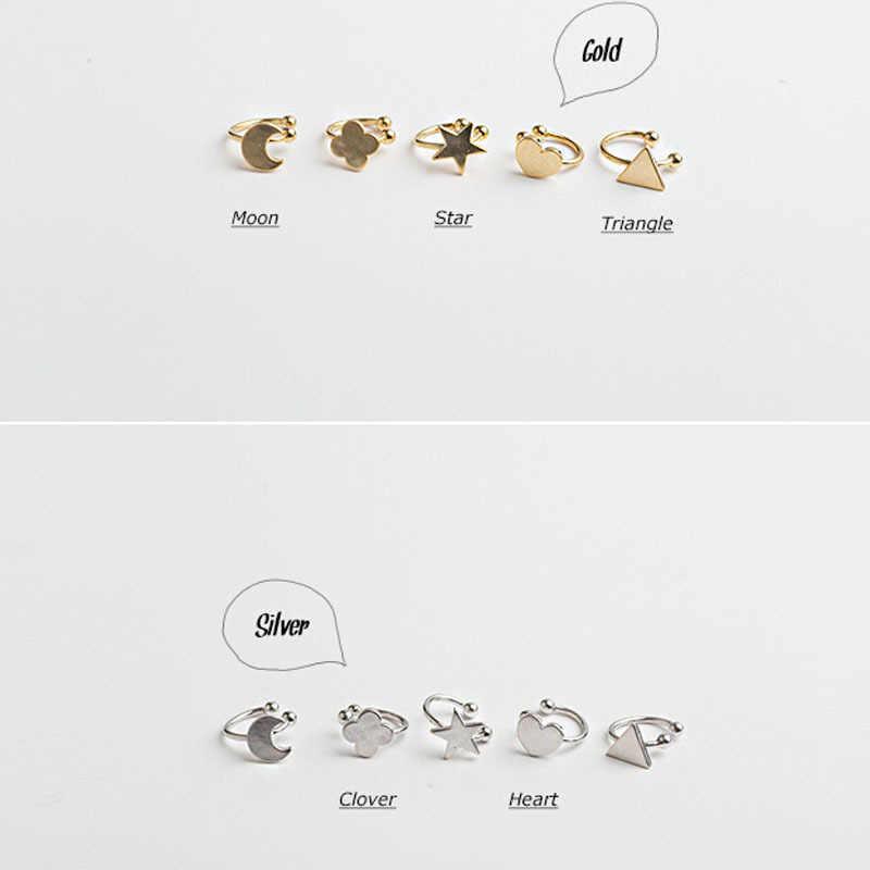Gaya Korea Hati Segitiga Bulan Bintang Telinga Manset Klip Pada Anting-Anting untuk Wanita Wanita Pernikahan Perhiasan Tak Terlihat Tanpa Tindik Telinga