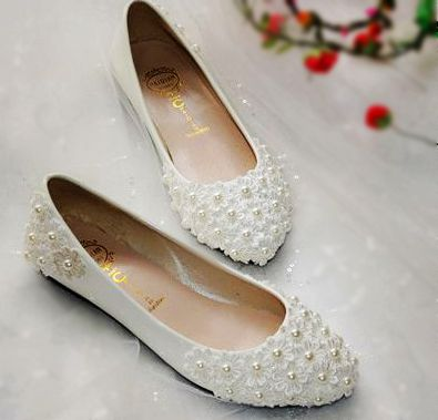 ФОТО Flower lace wedding shoes for women, ivory pearls bridal shoe  sweet fashion flat dance shoes ivory dress party shoe