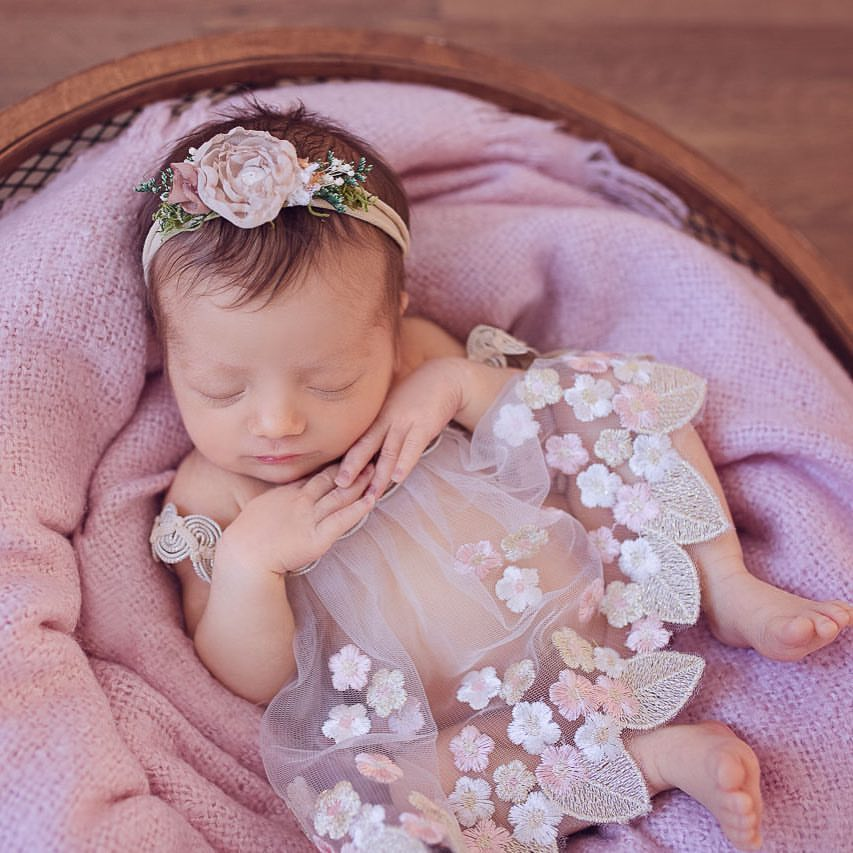 2019 New DIY Newborn Photography Props Accessories Headband And Lace Romper Baby Girl Clothes Flower Headwear Shooting Poser