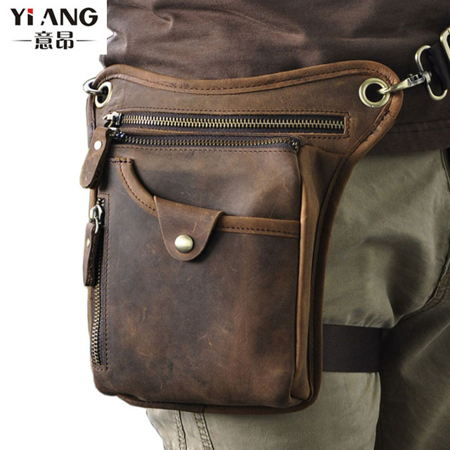 Men's Genuine Leather Cowhide Drop Leg Fanny Waist Pack Thigh Belt Hip Bum Motorcycle Riding Messenger Cross Body Shoulder Bag