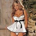 Lace lingerie White babydoll Dress Sleepwear Nightwear Underwear G-String Bow Decoration lingerie sexy hot erotic