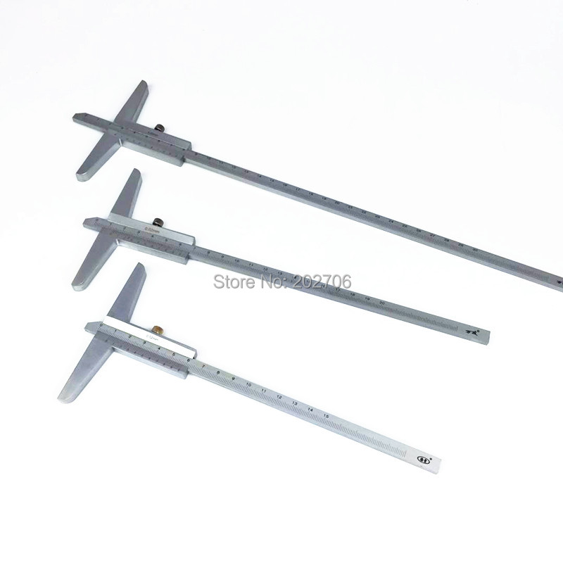 Bremssättel Hohe Qualität 150mm 200mm 300mm Tiefe Messschieber 0,02mm 0-150mm 0-200mm 0-300mm Tiefe Gauge Tiefe Messung Werkzeug Mess & Messwerkzeuge
