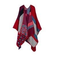 Oversize Trendy Lady Womens Voor Winter Luipaardprint Mantel Kasjmier Verdikking Sjaal Plaid Poncho Cape Wrap Sjaal Deken Warm