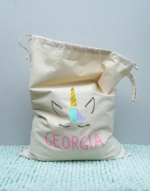 Personalized Unicorn Kids Stylish Storage Canvas Toy Bags Santa Sacks Birthday Gift Natural Cotton Drawstring Bag