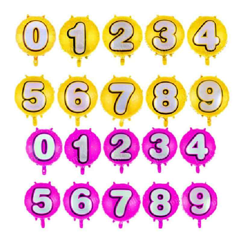 Number 0-9 Helium Foil Balloons Birthday Number Balloons for Wedding Anniversary Decoration (Rose Red)
