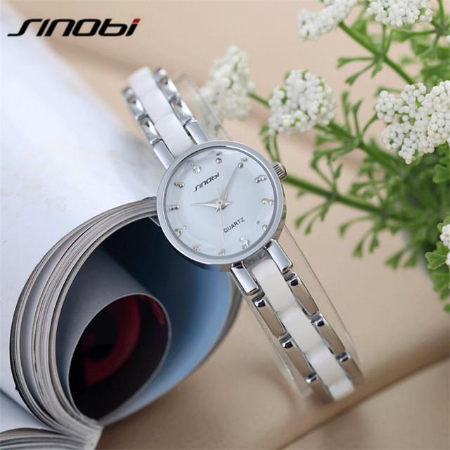 Sinobi diamante de moda de luxo mulheres relógio pulseira de relógio relógio relógio de quartzo das mulheres de aço inoxidável relógios à prova d' água caixa de presente ab2229