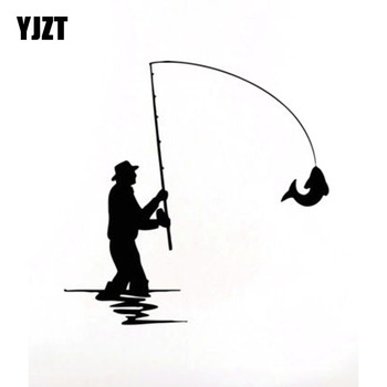 YJZT 13.5cm*13.4cm FISHING ROD FISH Fun Black Silver Vinyl Car Sticker Decals Accessories C11-0019 image