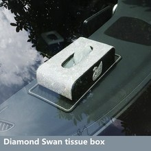 Swan Car Tissue Box Leather with Crystal Rhinestone Paper Tower Storage Boxes Diamond Hand made Auto Tissue Case Covers Holder