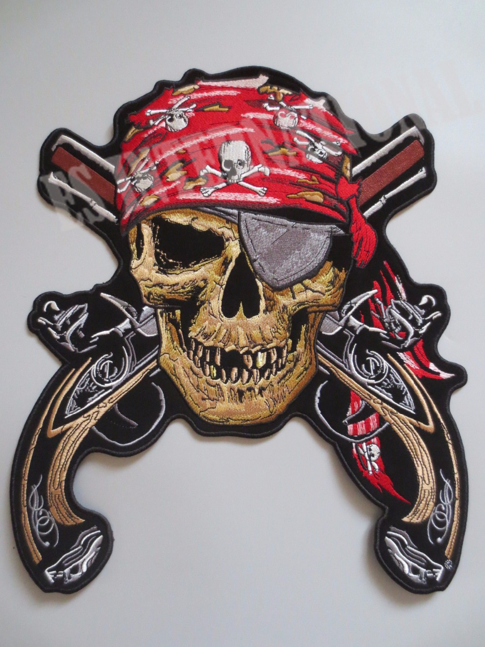 12.6 inches large Embroidery Patches for Jacket Back Vest Motorcycle Club Biker MC Sew on Pirate Skull Double Guns single Eye