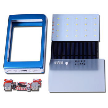 ICOQUE Universal 5V PCBA Motherboard Solar Power Bank Case DIY Box Dual USB 20Pcs LED 5x18650 Solar Powerbank DIY KIT No Battey