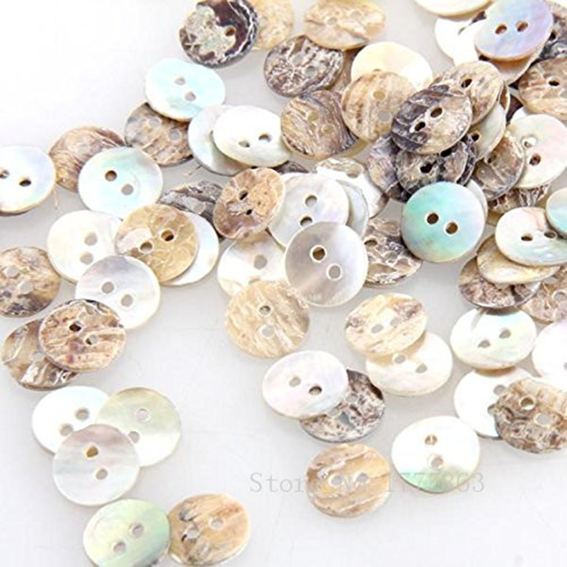 200Pcs <font><b>8mm</b></font> Mother of Pearl round <font><b>Buttons</b></font> for Sewing, Scrapbooking, Embelishments, Crafts 7NK54 image